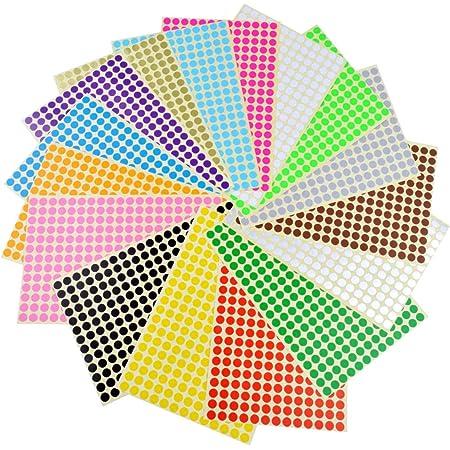 Runde Punktaufkleber,Farbetiketten 8mm Dot Klebepunkte 16 Farben//Blatt Farbkodierung Etikette 2112 St/ück Markierungspunkte