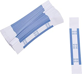 Currency Bands - 300-Count $100 Dollar Bill Wrappers, Money Bands, Currency Straps to Organize Bills, ABA Standard Colors, Self-Adhesive, Blue, 7.55 x 1.25 Inches