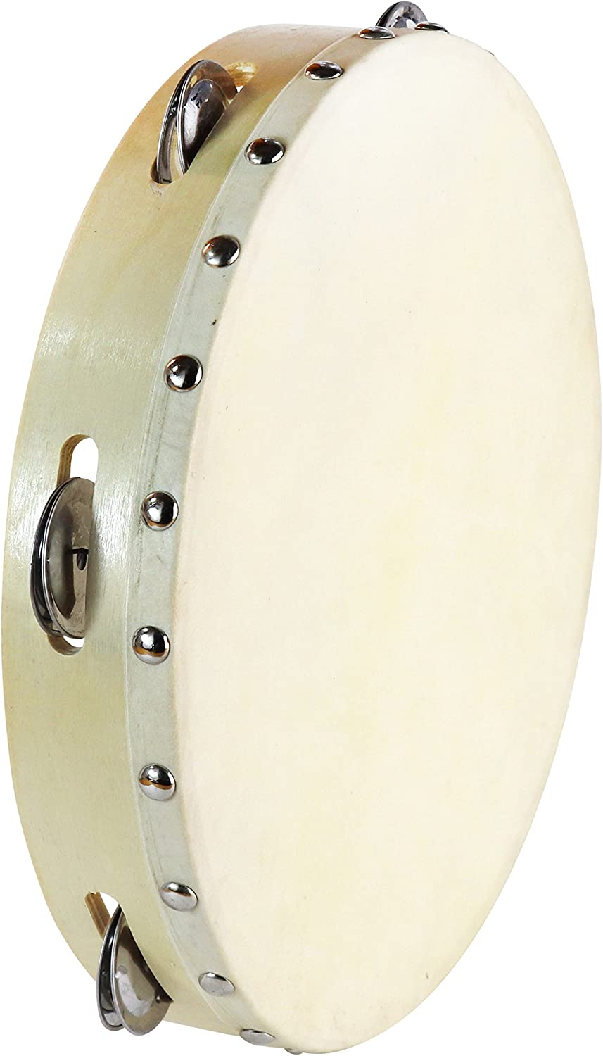 Tambourine 10 inch for Adults Handheld Tambourine Drum with Metal Jingles for Church