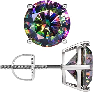 14K Solid White Gold Rainbow Mystic Cubic Zirconia Stud Earrings   4.0 CTW   Screw Back Posts   With Gift Box