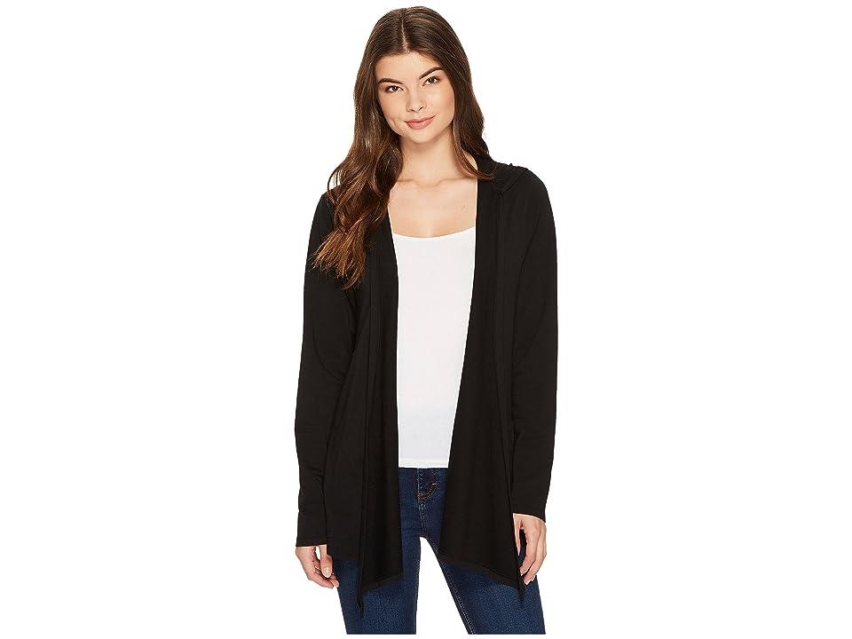 Mod-o-doc Cotton Modal Fleece Button Hem Hooded Cardigan (Black) Women
