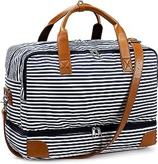 S-ZONE Damen 45L Reisetasche Canvas PU Leder Trim Streifen Große Weekender Tasche Travel Duffle Bag Handgepäck Sporttasche mit Schuhfach Laptopfach Abnehmbar Schulterriemen