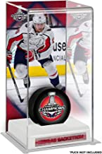 Nicklas Backstrom Washington Capitals 2018 Stanley Cup Champions Logo Deluxe Tall Hockey Puck Case - Hockey Puck Free Standing Display Cases