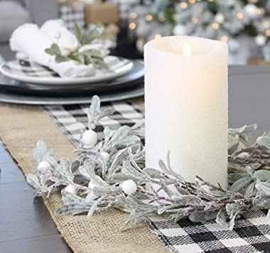 AuldHome Lamb's Ear Candle Ring (14-Inch Diameter); Frosted Pearl and Berry Farmhouse Christmas Decor Small Wreath or Candle
