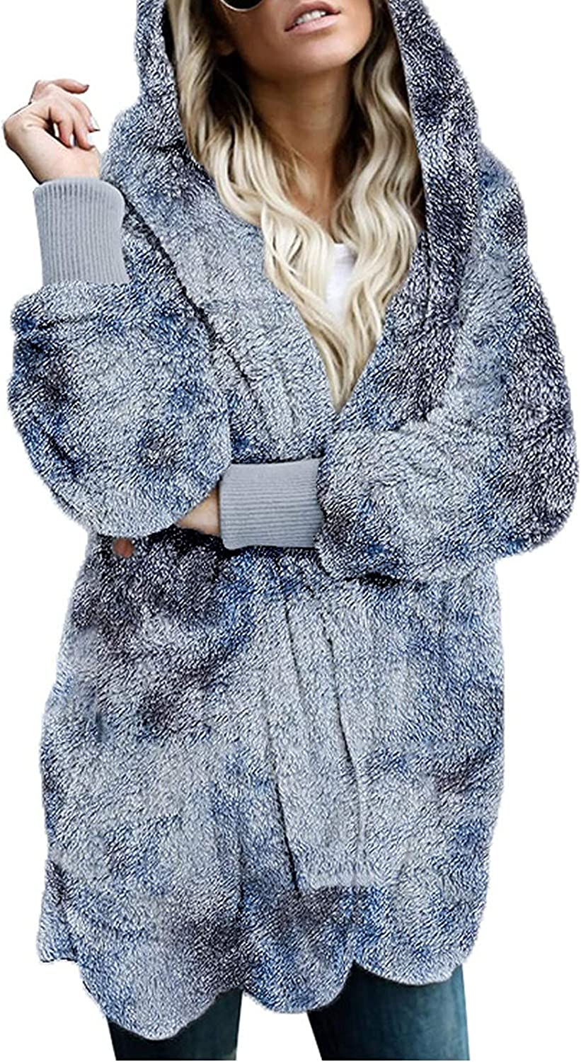 Womens Clothes Plush Tie-Dye Stitching Color Hoodie Warm Casual Full Sleeve Long Coat Comfy Loose Cardigan Top
