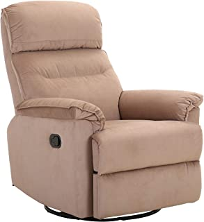 Amazon Brand – Ravenna Home Pull Recliner with 360 Rotating Swivel Glider, Living Room Chair, 39.4