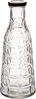 Red Co. Decorative Etched Glass Bottle, Kitchen Essential, Home Décor Centerpiece Vase, 10-inch