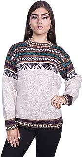 Raymis Alpaca Wool Cusco Geometric Women´s Round Neck Sweater - Warm, Soft & Comfortable