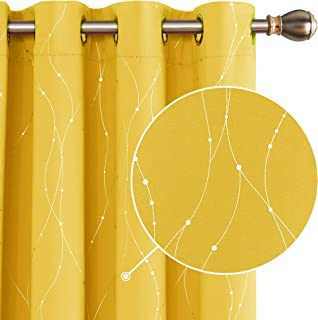 Deconovo Dot Line Decorative Super Soft Thermal Insulated Energy Saving Blackout Curtains for Living Room Mellow Yellow 66 x 72 Inch 2 Panels