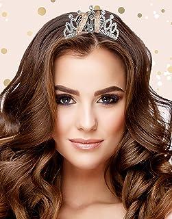 Alandra 生日 TIARA-21 21 岁生日玫瑰金金属礼品盒头饰,奶油色和玫瑰银,均码