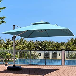 PURPLE LEAF 11 Feet Double Top Deluxe Square Patio Umbrella Offset Hanging Umbrella Outdoor Market Umbrella Garden Umbrella, Turquoise Blue