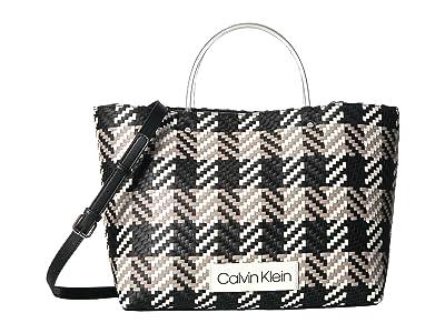 Calvin Klein Morgan Woven Novelty Medium Tote (Black/White) Handbags