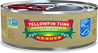 Genova Yellowfin Tuna in Extra Virgin Olive Oil with Sea Salt, 5 Ounce (Pack of 24)
