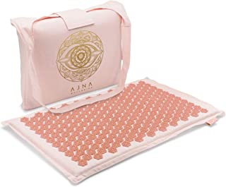 Ajna Acupressure Mat for Massage - Natural Organic Linen Cotton Acupuncture Mat and Bag - Back Pain Relief, Neck Pain Relief, Stress Reliever, Reflexology, Sciatica, Trigger Point Therapy (Sherbert)