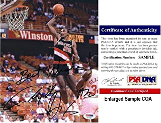 Clyde Drexler Autographed Picture - 8x10 inch Certificate of Authenticity COA) - PSA/DNA Certified - Autographed NBA Photos