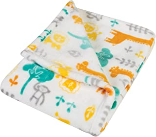 Trend Lab Plush Baby Blanket, Yellow Lullaby Jungle
