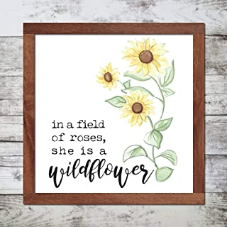 Encounter168 in a Field of Roses She is a Wildflower Woodland Nursery Prints Kitchen Home Farmhouse Decor Christmas Thanksgiving Parents Gift Wood Sign