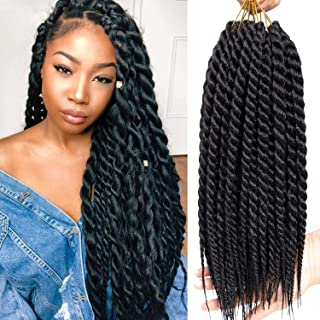Karida 6pcs 18inch Havana Twist Crochet Hair Havana Mambo Twist Crochet Braids Jumbo Senegalese Twist Synthetic Crochet Braiding Hair Extensions12 Roots/Pack (1B)
