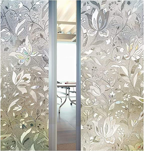 3D Decorative Tulip Flower Pattern Frosted Privacy Window Film Self Adhesive Static Sticker For Bathroom Kitchen Living Room 23 6 X 78 7