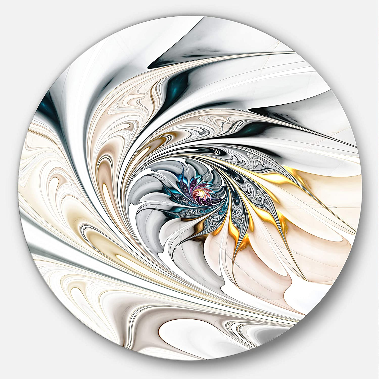 Amazon Com Designart Mt10276 C38 White Stained Glass Floral Art Floral Disc 38 X 38 White Home Kitchen