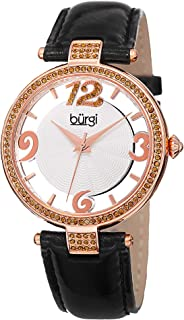 Burgi Women's Swarovski Crystal Accents Watch - Engraved Sunburst Guilloche Center Dial with See Thru Border On Leather St...