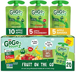 GoGo squeeZ Fruit on the Go Variety Pack, Apple Apple, Apple Banana, & Apple Strawberry, 3.2 oz. (20 Pouches) - Tasty Kids...