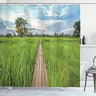ABAKUHAUS Asian Shower Curtain, Old Wood Bridge Rice Field, Cloth Fabric Bathroom Decor Set with Hooks, 175 cm x 200 cm, G...
