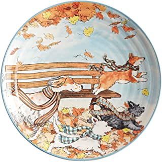 New Park Bench Puppies Dogs in Autumn Leaves Salad Dessert Appetizer Plates 8