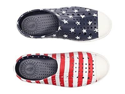 Native Kids Shoes Jefferson Stars and Stripes Print (Little Kid) (Regatta Blue/Shell White/Stars Stripes) Kids Shoes
