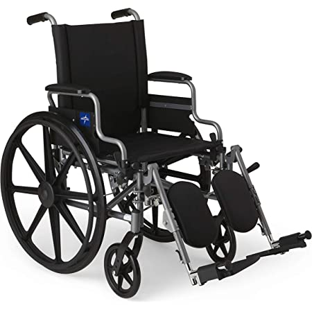 """Medline - MDS806550E Lightweight & User-Friendly Wheelchair With Flip-Back, Desk-Length Arms & Elevating Leg Rests for Extra Comfort, Gray, 18"""" Seat"""