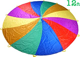 NARMAY Play Parachute for Kids Rotating Rainbow with 12 Handles - 12 Feet
