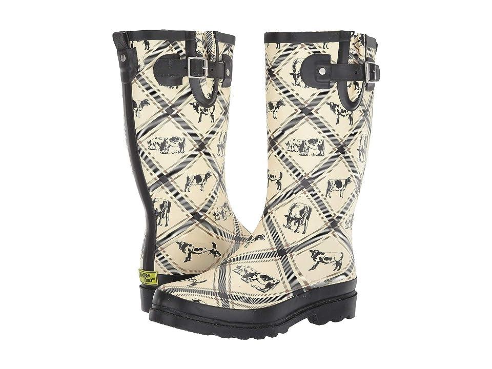Western Chief Country Cows Rain Boot (Cream) Women