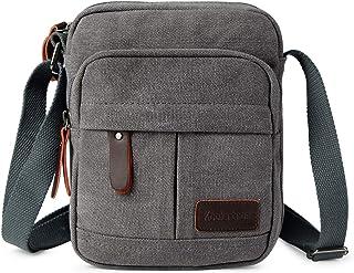 Koolertron Men's Handbag Retro Small Men's Casual Canvas Cross Body Bag Shoulder Bag with Top Handle and Multiple Compartments