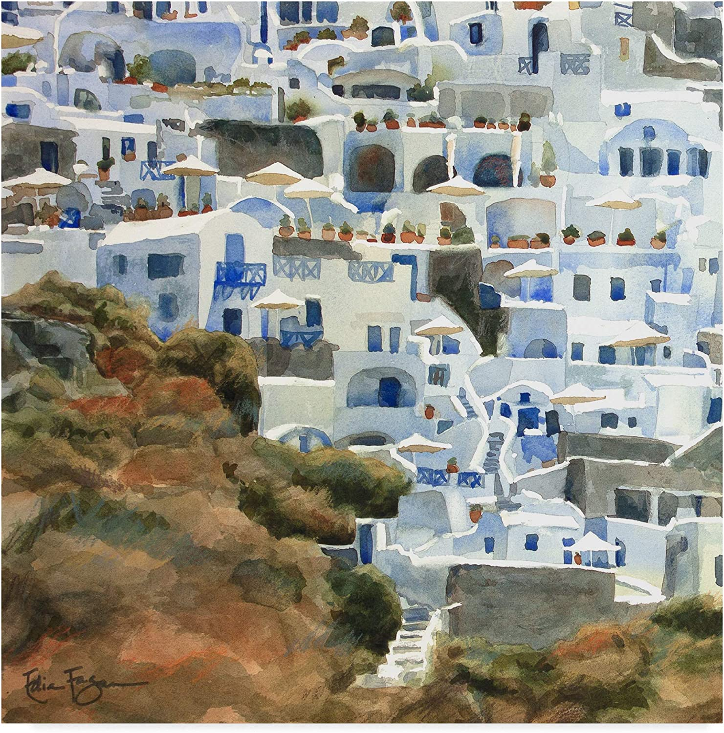Trademark Fine Art Santorini Hillside II by Edie Fagan, 14x14
