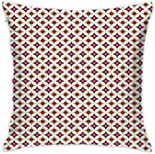 Asefcnxkjii Decorative Throw Pillows Covers,Balinese Ethnic Retro Mosaic Pattern with Circles and Squares,18x18 Inches Square Patio Cushions for Couch Bed Sofa Patio Furniture