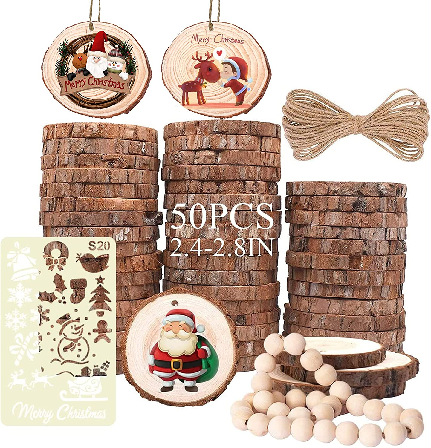 Wood Slices Free shipping on posting reviews 50 Al sold out. Pack 2.4-2.8''Unfinished for Cra Ornaments Wooden