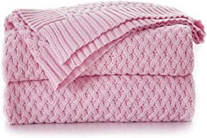 Pumpkin Town Pink 100% Cotton Cable Knit Spring Throw Blanket for Soft Sofa, Chair, Couch, Picnic, Camping, Beach, Home Decorative Knitted Blanket, 50