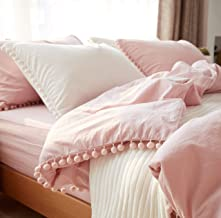 Softta Pink Pom Pom Bedding Set Ruffle Twin Girls Duvet Cover Baby Teen 3 Pcs Vintage Farmhouse Boho Quilt Cover Bohemian 100% Washed Cotton Solid Color