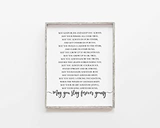 Arvier May You Stay Forever Young Nursery Printable Decor for Nursery Bob Dylan Print Rod Stewart Nursery Prints Forever Young Lyrics Print Framed Wall Art