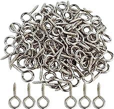 "Wobe 100pcs Small Screw Eye, Eye Shape Screw Hooks 1"" Lag Thread Self-Tapping Hanging Hooks Eyebolt Ring Zinc Plated"