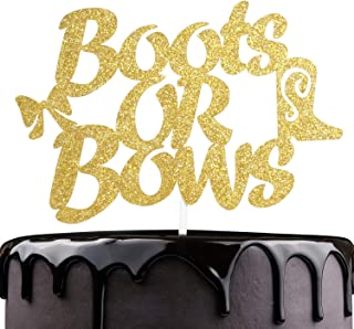 Boors Or Bows Birthday Cake Topper - Gold Glitter Boot Bow Cake Décor - Gender Reveal Girl or Boy - Heaven Sent Milestone Baby Shower Decoration