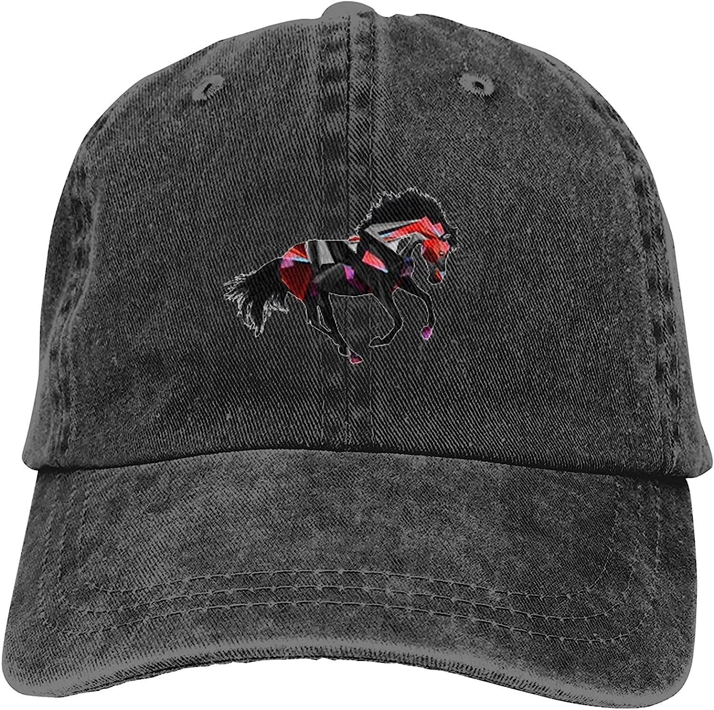 Cool Horse Hat Black Cotton Baseball Cap, Vintage Denim Adjustable Sun Hat Cowboy Dad Hats for Men Women Outdoor