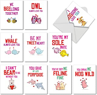 Boxed Set of 10 Loving Puns Gone Wild - Happy Valentine's Day Greeting Cards with Envelopes (4 x 5.12 Inch) - Bear, Cat, Dog, and Assorted Animal Valentines Notecard for Kids, Family M5660VDG-B1x10