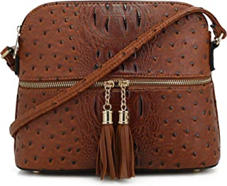 Animal Pattern Lightweight Medium Dome Crossbody Bag with Tassel