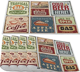 Moslion 1950S Vintage Metal Signs Placemats,Retro Posters Tropical Bar Beverage Coffee Drink Beer Place Mats for Dining Table/Kitchen Table,Waterproof Washable Outdoor Dinner Table Mats,Set of 4