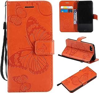 iPhone 7 / iPhone 8 ケース手帳型 OMATENTI PU レザー 革エンボス蝶 薄型 手帳型カバー カード入れ スタンド機能 おしゃれ 手帳ケース 全面保護 液晶保護 耐衝撃 財布型カバー, オレンジ