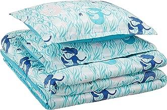 AmazonBasics Kid's Comforter Set - Soft, Easy-Wash Microfiber - Full/Queen, Blue Mermaids