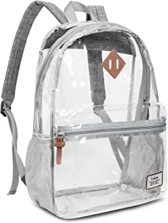 Roll Over Image to Zoom in Clear Backpack Transparent Bag, Grey, Size One_Size