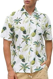 Janmid Men's Tropical Hawaiian Shirt Casual Button Down Short Sleeve Shirt
