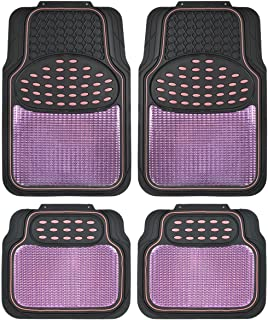 BDK Metallic Rubber Floor Mats for Car SUV & Truck - Semi Trimmable 2 Tone Color Heavy Duty Protectio Pink/Black